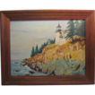 "Oil On Canvas Panel Lighthouse By Charles Grund ""Bass Harbor Light Maine"""
