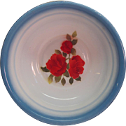 SALE Vintage Bowl Enamel ware With Beautiful Handpainted Red Roses By Diamond