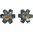 Coro Designer Earrings Light Blue Rhinestones With Screw Back Fastener