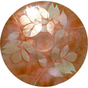Cloisonne Orange Colored Flat Bowl With Leaf Design