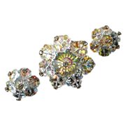 Brooch and Clip Earrings Aurora Borealis Margarita Stones With Rhinestones