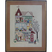 Whimsical Needlework Christmas  Large Framed, Signed