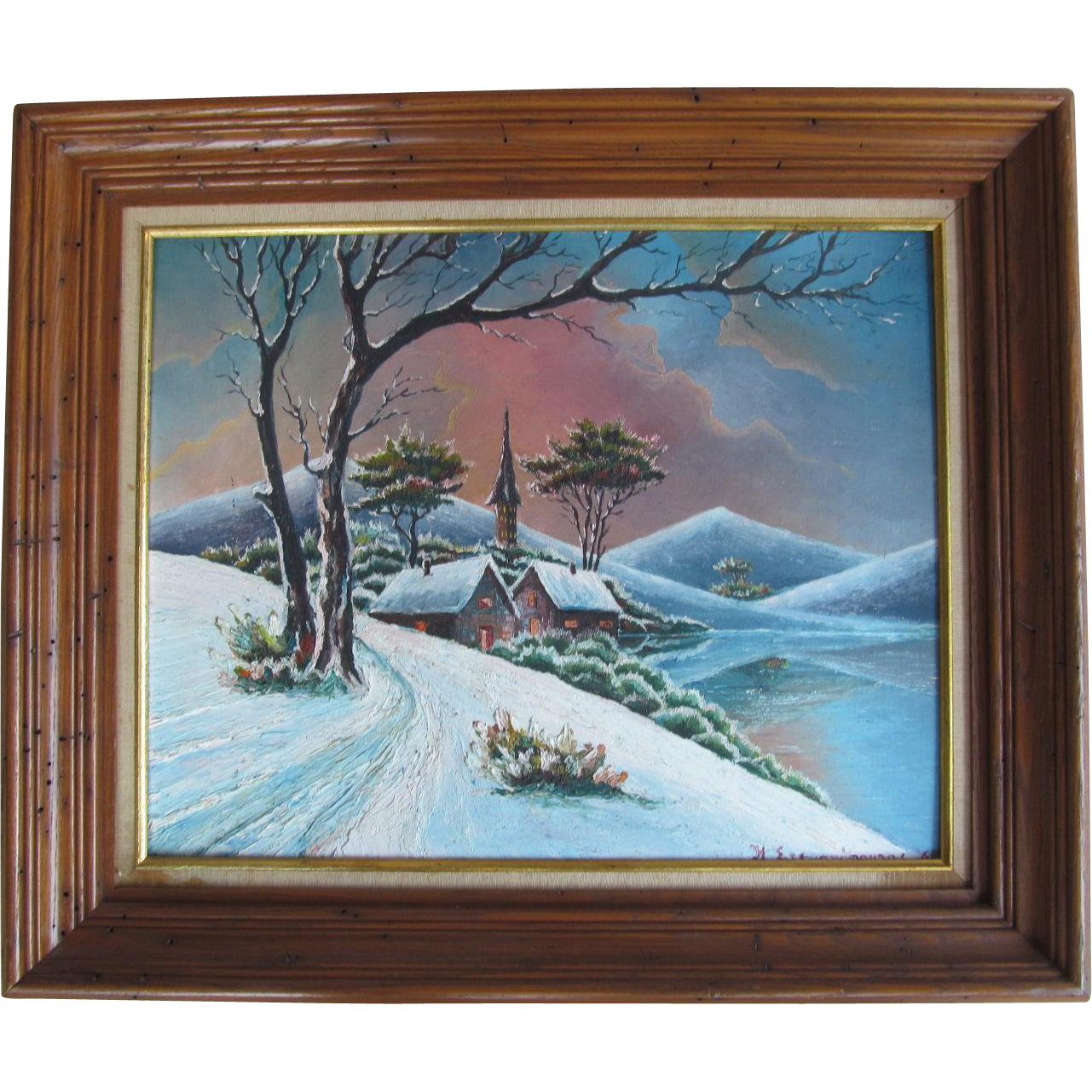 Beautiful Oil On Canvas Board Landscape Winter Scene With Signature & Date