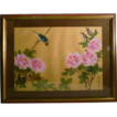 Japanese Silk Art  Bird With Flowers Signed