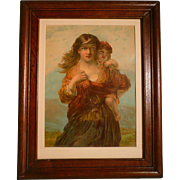 Chromolithograph Young Woman With Child Entitled &quot;Crossing The Meadow&quot;  By True & Co