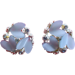BSK Blue Thermoset Clip Earrings With Enamel and Rhinestones