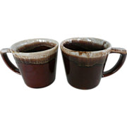 2 McCoy Lava Brown Drip Mugs Made In USA
