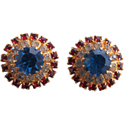 Round Clip Earrings With Blue, Red, And Clear Rhinestones