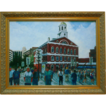 Faneuil Hall Oil On Canvas Plein Air Cityscape Painting Signed