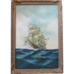 Oil On Canvas Clipper Ship On The Sea Signed