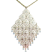 Necklace Asian Style Open Work and Clear Rhinestones