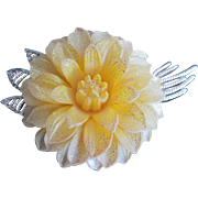 Celluloid Yellow Dahlia Flower Pin or Brooch