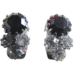 Vintage Black and Clear Rhinestone Clip Earrings