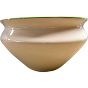 Cream Color Ironstone Wash Basin or Bowl With Green Rim