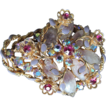 Flower Basket Pin or Brooch With Aurora Borealis, Mixed Stones and Lavender Enamel