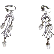Vintage Dangle Clip Earrings With Frosted and Clear Rhinestones