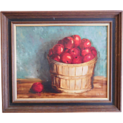 Oil on Canvas Still Life Apples In Basket Signed Ruth Lewis