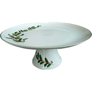 Christmas Cake Stand With Pedestal Base and Matching 4 Mugs