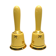 Yellow Bell Salt and Pepper Shakers With Cork Stoppers and Ringers