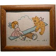 Stitched Needlework Art of Little Girl and Bear