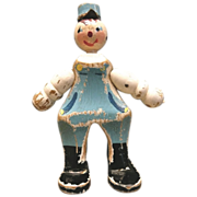 Old Whimsical Wood Character String Doll 1930 Circa