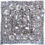 Gorgeous Square Clear Rhinestone Brooch