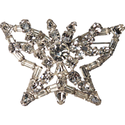 Large Clear Rhinestone Butterfly Brooch or Pin