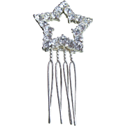 Vintage Hair Comb With Clear Rhinestones Star Shape