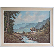 SALE Mountain Landscape With Chalet And Stream By Jansen