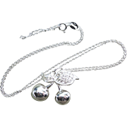 """Cherries and Leaves"" Necklace 925 Silver With Clear Stones"