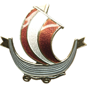 Vintage Norway Sterling and Enamel Viking Ship Pin