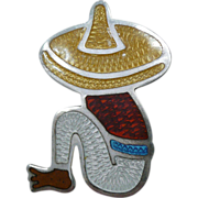Vintage Enamel Pin Mexican Man 925 Silver Marked
