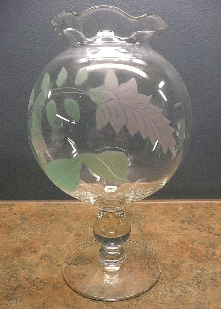 Hand Blown Glass Globe Vase With Colored Etching