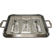 Silverplate and Glass Footed Relish Tray With Forks