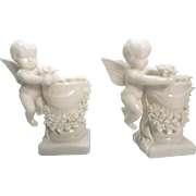 Porcelain Cherub Angel Candlestick Holders Ornate