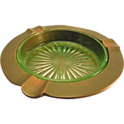 Handsome Vaseline Glass and Copper Ashtray