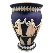 Dark Blue Jasper Ware Vase With Dancing Grecian Goddesses