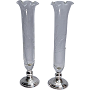 Elegant Web Sterling Bud Vases (2) With Etched Glass Design