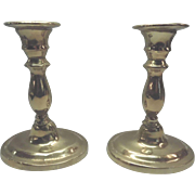 Old Set Of Solid Brass Candlestick Holders