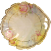 Porcelain Leaf Shape Dish with Floral Design and Pierced Handle Royal Ruddlstadt Prussia