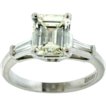 SALE Handmade Platinum Emerald Cut Diamond Engagement Ring 1.93 Carats