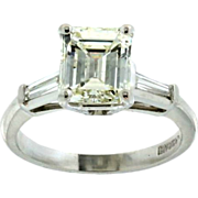 SALE Gorgeous Handmade Platinum and  Emerald Cut Diamond Engagement Ring
