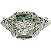SALE Platinum Art Deco Illusion set Diamond and Green Cut Glass Ring