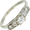 Vintage 14K White Gold Diamond Engagement Ring