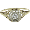 Edwardian 14K Yellow Gold Diamond Ring with Platinum Top