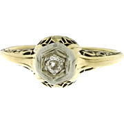 SALE Art Deco 14K Yellow Gold Diamond Ring w/ 18K White Gold Top