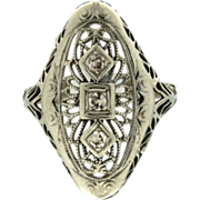 SALE Art Deco 14K White Gold Filigree Diamond Ring
