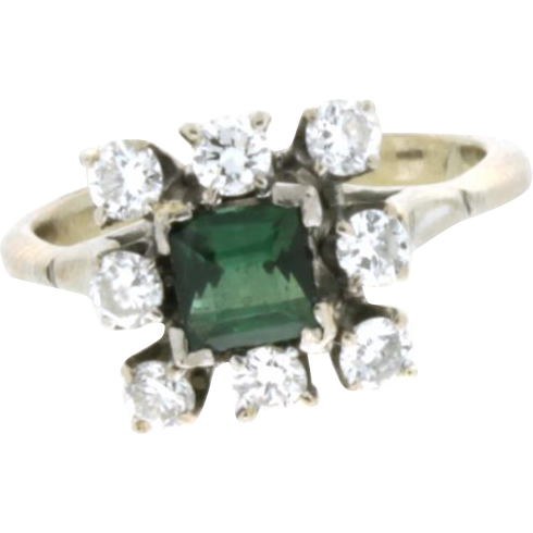 vintage 14k white gold emerald ring from