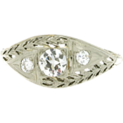 SALE Art Deco 18K White Gold Filigree Diamond Ring