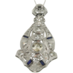 Art Deco 18K White Gold Diamond & Synthetic Sapphire Pendant w/14K Chain